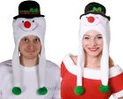 SNOWMAN TRAPPER HAT PLUSH CHRISTMAS WINTER HEADWEAR WITH JINGLE BELLS SNOW MAN