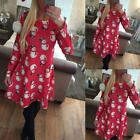 Ladies Women Long luxury Sleeve Snowman Printing Christmas Party Swing Dress