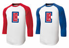 New LA Clippers Men's 3/4 Sleeve T-Shirt Red Blue Logo Los Angeles Tee Sz XS-6XL