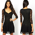 Women Square V Neck 3/4 Sleeve Crotched Floral Lace Mini Party Dress Fashion New