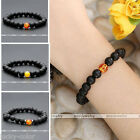 Elastic Men Women Lava Rock Amber Bead Matte Bangle Bracelet Healing Jewelry 1x
