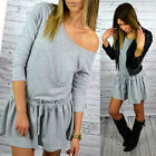2015Fashion Women Casual Sexy Off Shoulder 3/4 Sleeve Lace Up Mini Party Dress