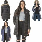 New Womens Fixed Fur Zip Off Hood Nylon Padded Jacket