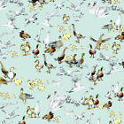 DUCKS AND GEESE PALE AQUA BLUE - WILDLIFE - MAKOWER INPRINT 100% COTTON FABRIC