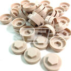 "16mm BEIGE BROWN HEXAGONAL SCREW COVER CAPS TO FIT 8mm (5/16"") TEK SCREWS (AN4)"