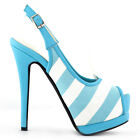 Black/Blue Striped PeepToe Slingback Stiletto Platform EVE Pump Size 4 5 6 7 8 9