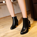 Classic Womes Boots PU Leather Ankle Boots 6CM Chunky Heel Side Zip US Size 4-11