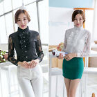 Women OL Long Sleeve Shirt Lace Flouncing Collar Office Career Tops Blouse