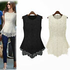 Fashion Sleevess Hollow Out Lace Floral Womens Top Shirt Zipper UK Local Postage