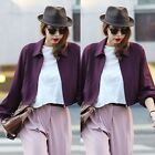 Womens Lapel Solid Casual Street Coat Jacket Blazer Cardigan Short Outwear Top