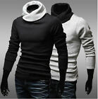 New Fashion Joker Men's Solid Long sleeve Sweaters Casual Lapel Hedging Tops