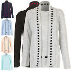 New Womens Ladies Knitted Twinset Winter Cardigan Jumper Top Size 8 10 12 14 S M