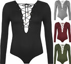 Womens V-Neck Ribbed Front Plunge Tie Long Sleeve Leotard Top Ladies Bodysuit