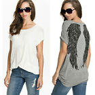 NEW  Women Angel Wings Printed Blouse Loose Oversize Long Top T-shirt Hot 8-20