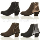 WOMENS LADIES MID CUBAN HEEL STUDDED GLITTER ZIP WESTERN COWBOY ANKLE BOOTS SIZE