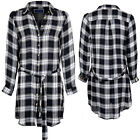 Women's Check Print Adjustable Long Sleeve Long Top Tie Up Belted Blouse Dress