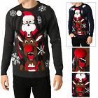 Threadbare 3D Novelty Christmas Jumper Mens Womens Knitted Crew Neck Pullover