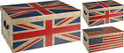 Large Union Jack  or Stars & StripeCardboard Storage Boxes with Lids & Handles