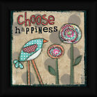 Choose Happiness Lisa Larson 12x12 Inspirational Sign Bird Framed Art Print