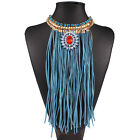 Fashion Womens Charms Long Tassel Chain Pendant Statement Bib Necklace Chunky