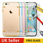 Silicone Gel Shock Case Cover For Apple iPhone 6 6S 5S Tempered Glass Screen