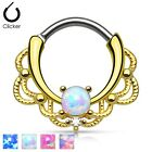 New Gold Plated Lacey Ornate Nose Septum Clicker Ring with Opalite Stone 16g