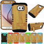 Light Wood Grain Impact Hard Soft Cover Case for Samsung Galaxy S6 Edge+ PLUS
