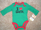 NWT: New Carter's Green & Red 'I Love Santa' Christmas Body Suit Shirt NB 3mos
