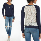 2016 new Fashion Womens sexy casual Lace long sleeve top shirt blouse uk 8-14