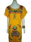 Yellow Vintage Style Hand Embroidered Tunic Mexican Dress Hippie Puebla
