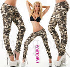 Sexy Womens Skinny Camo Cargo Jeans Pants Military Army Size 8 10 12 14 S M L XL