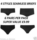 6 X PACK ELLOS ULTRA COMFORT SEAMLESS BLACK BRIEFS SHORTS OR THONG KNICKERS