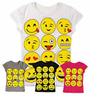Girls Emoji Short Sleeved T Shirt New Kids Smiley Print Tops Ages 5-13 Years