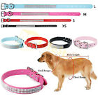 Luxury Diamante Soft PU Leather Dog Cat Pet Collar Band Rhinestone Crystal Bling