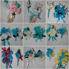 2PCS Turquoise Malibu Corsage Boutonniere Pick from many sets & Accent colors
