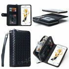 Weave Leather Wristlet Cash Clutch Wallet Card Slot Case For iPhone & Samsung