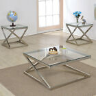 Clear Glass Top Brushed Nickel Z Type Metal Stand Coffee Table or End Table
