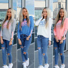 Womens Printed Long Sleeve Tops Casual Cotton Loose T-Shirt Pullover Blouse
