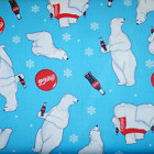 Sale Coca Cola Christmas Coke And Polar Bears 100% Cotton Patchwork Fabric