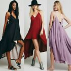 Double Layer Chiffon Backless Pleats Womens Cocktail Party Lounge High Low Dress