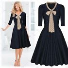 Womens Vintage Chiffon Neckline Pleated Cocktail Party Wear to work Swing Dress