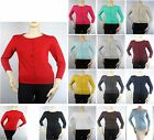 15C Women's 3/4 Sleeve Round Neck Button Down Knit Cardigan Cute Good Fabric SML