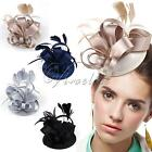 Lady Girl Vintage Satin Fascinator Feather Clip Hat Topper Party Wedding Races
