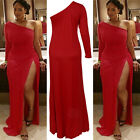 UK Sexy Womens Slim Bodycon Cocktail Party Evening Clubwear Slit Dress Plus Size