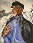 "BORIS GRIGORIEV ""Portrait of Vaska Pepel"" underworld cold man cap CANVAS PRINT"