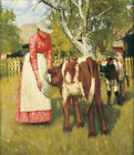 "HENRY LA THANGUE ""The First Meal"" animal care farmer calf girl bucket ON CANVAS"