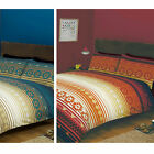 Aztec Inspired Striped Duvet Quilt Cover Set with Contemporary Tribal Print