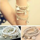 Womens Fashion Jewelry Gold Metal Pearl Charm Bangle Multilayer Pendant Bracelet