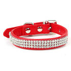 Bling Adjustable Rhinestone PU Leather Crystal Puppy Collar Pet Dog Cat Collar