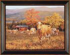 AUTUMN'S GOLD by Bonnie Mohr 15X19 FRAMED PRINT Cows Cattle Fall Leaves Barn